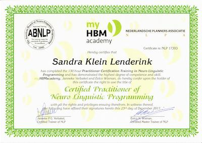 Sandra Klein Lenderink NLP Practitioner
